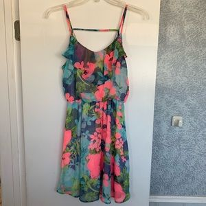 LUSH Floral Chiffon Dress Blue Pink Floral Tropic